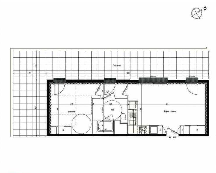 Plan 412, appartement neuf type T2 au 4ème étage, faisant 41m² du programme neuf Les Boréales à Rouen.