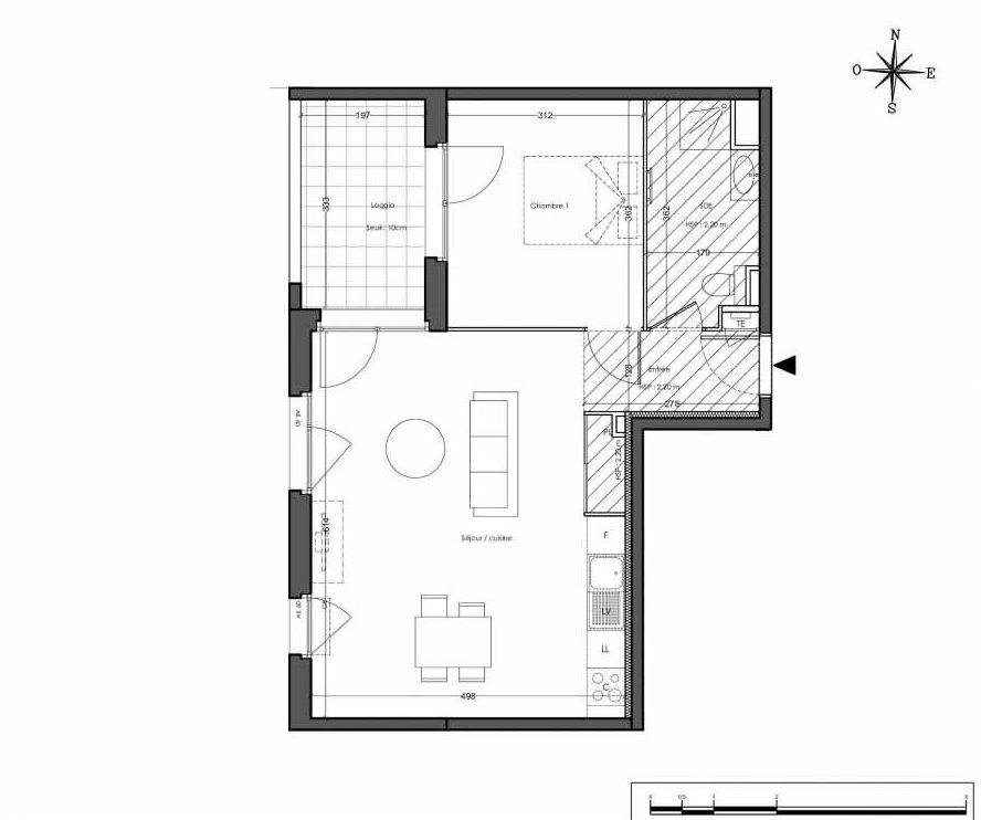 Plan 4121, appartement neuf type T2 au 2ème étage, orienté Est faisant 50m² du programme neuf N.O.U : NOUVEL OPUS URBAIN BAT D 35 LOTS à Villeurbanne.