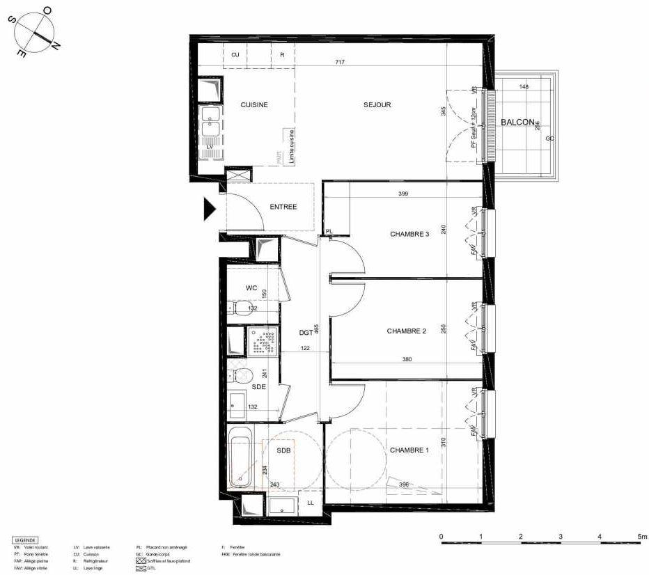 Plan 413, appartement neuf type T4 au 1er étage, orienté Nord faisant 74m² du programme neuf LES JARDINS BALZAC BAT 2 à Argenteuil.
