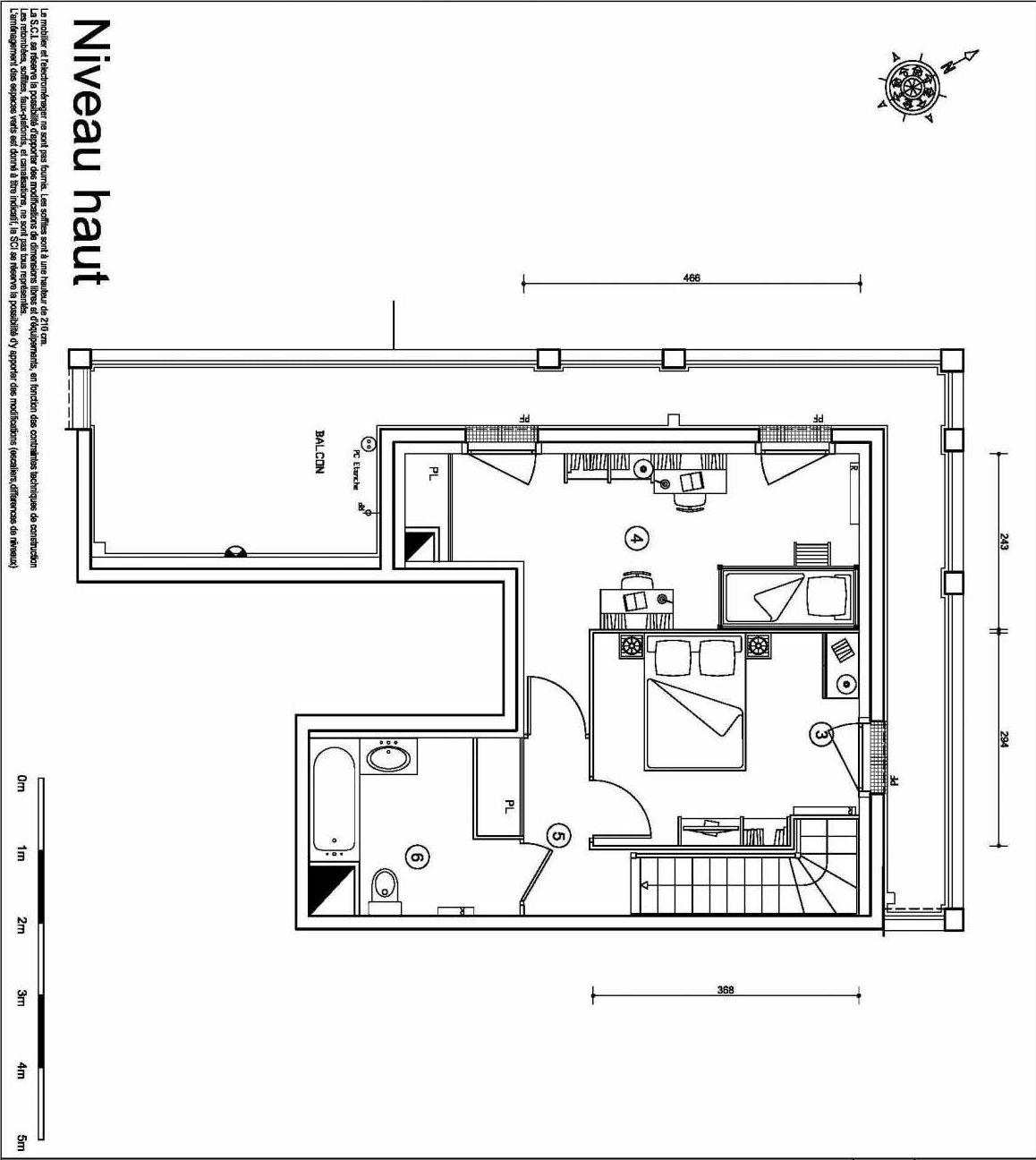 Plan 4135, appartement neuf type T3 au Rez de chaussée, orienté Ouest faisant 61m² du programme neuf LES DOCKS APOLLONIA TRANCHE N°05 à Ris-Orangis.
