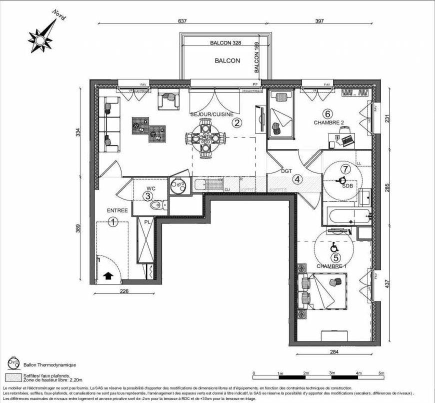 Plan recadré CÔTÉ FAUBOURG BATIMENT 4 - 12 LGTS