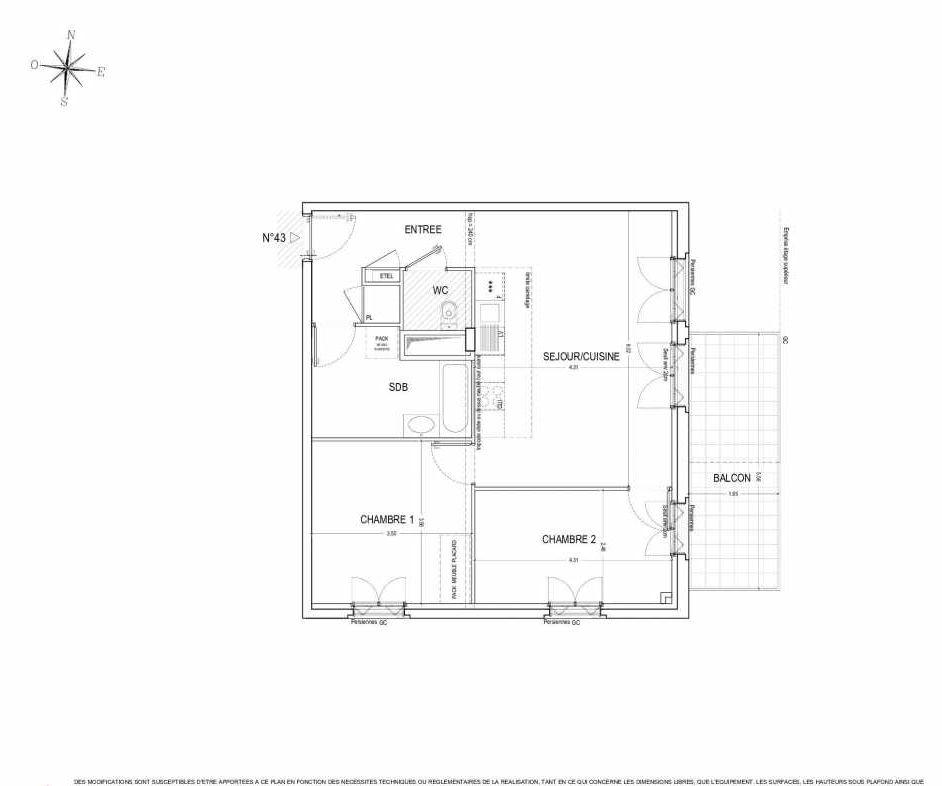 Plan 43, appartement neuf type T3 au 4ème étage, orienté Est faisant 65m² du programme neuf ALLURE à Nantes.