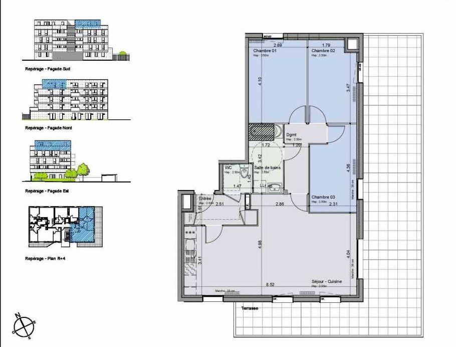 Plan 43, appartement neuf type T4 au 4ème étage, orienté Sud faisant 82m² du programme neuf Greystone à Lille.