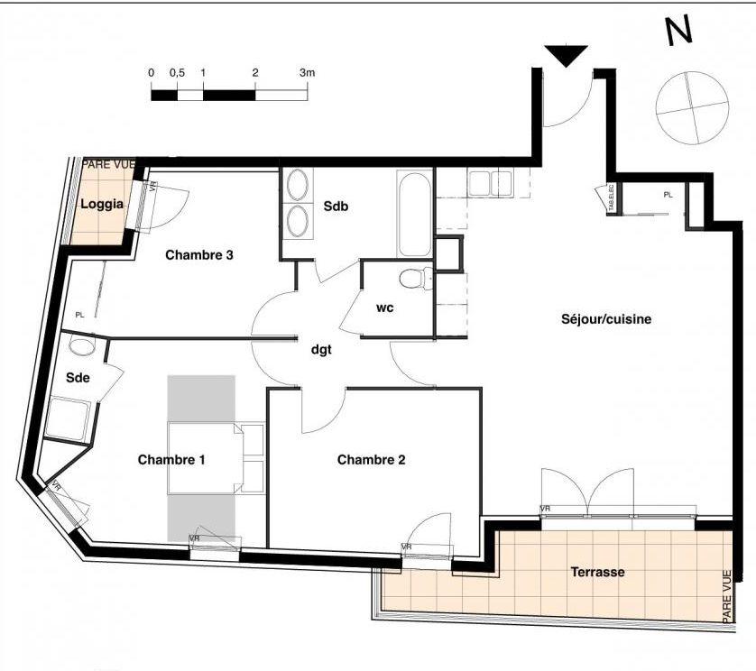 appartement n 44 carr salva t4 de 85 m six fours les plages 83. Black Bedroom Furniture Sets. Home Design Ideas