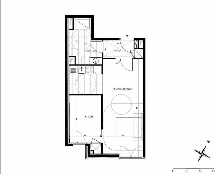 Plan 44, appartement neuf type T2 au 4ème étage, orienté Est faisant 46m² du programme neuf CUBIK - PARIS 13 à Paris.
