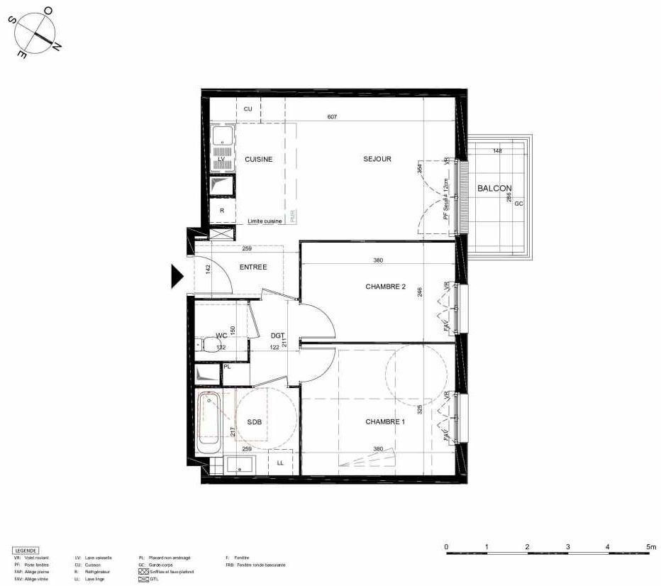 Plan 444, appartement neuf type T3 au 4ème étage, orienté Nord faisant 57m² du programme neuf LES JARDINS BALZAC BAT 2 à Argenteuil.