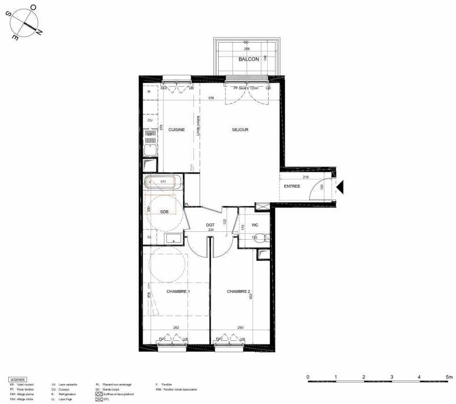 Plan 448, appartement neuf type T3 au 4ème étage, orienté Sud faisant 62m² du programme neuf LES JARDINS BALZAC BAT 2 à Argenteuil.