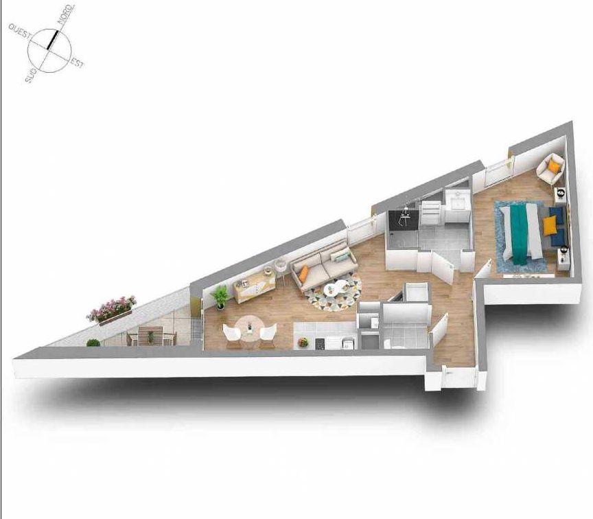 Plan 45, appartement neuf type T2 au 4ème étage, orienté Ouest faisant 40m² du programme neuf IRONFLAT à Nantes.