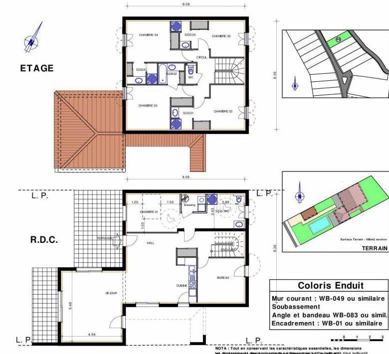 Plan 46, appartement neuf type T7 au Rez de chaussée, orienté Sud faisant 166m² du programme neuf LES JARDINS D'ADELAIDE à Grimaud.