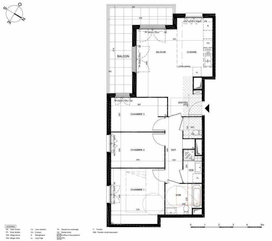 Plan 461, appartement neuf type T4 au 6ème étage, orienté Sud faisant 79m² du programme neuf LES JARDINS BALZAC BAT 2 à Argenteuil.