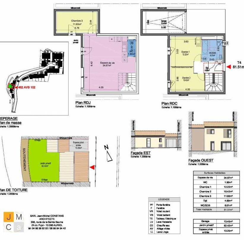 Plan 462AVB102, appartement neuf type T4 au Rez de chaussée, faisant 82m² du programme neuf Résidence principale Carcès à Carcès.