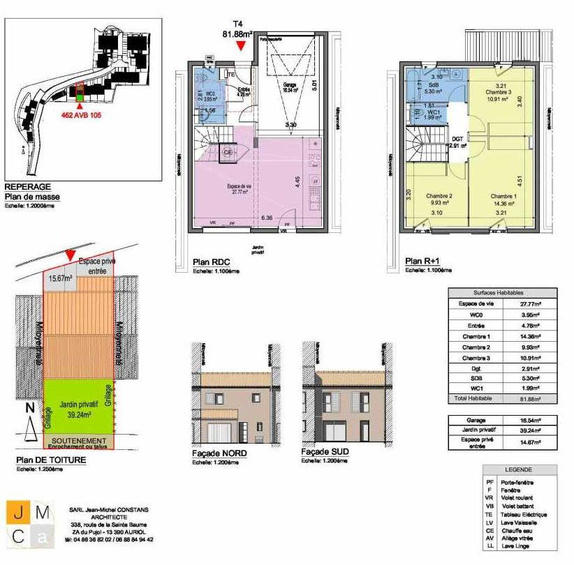 Plan 462AVB105, appartement neuf type T4 au Rez de chaussée, faisant 82m² du programme neuf Résidence principale Carcès à Carcès.