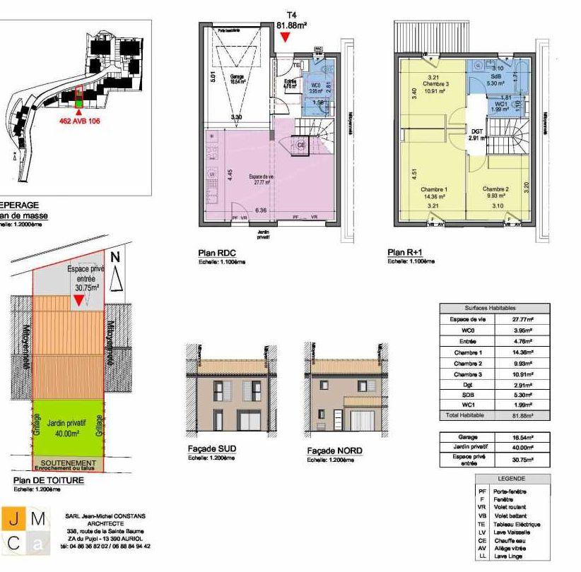 Plan 462AVB106, appartement neuf type T4 au Rez de chaussée, faisant 82m² du programme neuf Résidence principale Carcès à Carcès.