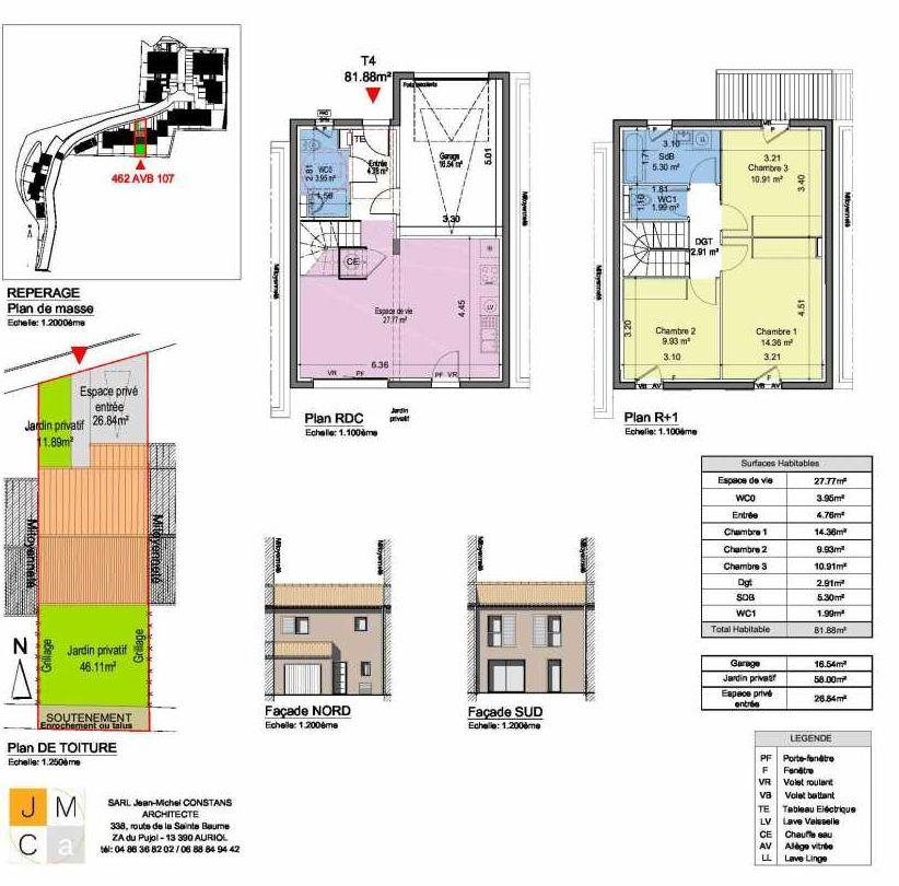 Plan 462AVB107, appartement neuf type T4 au Rez de chaussée, faisant 82m² du programme neuf Résidence principale Carcès à Carcès.