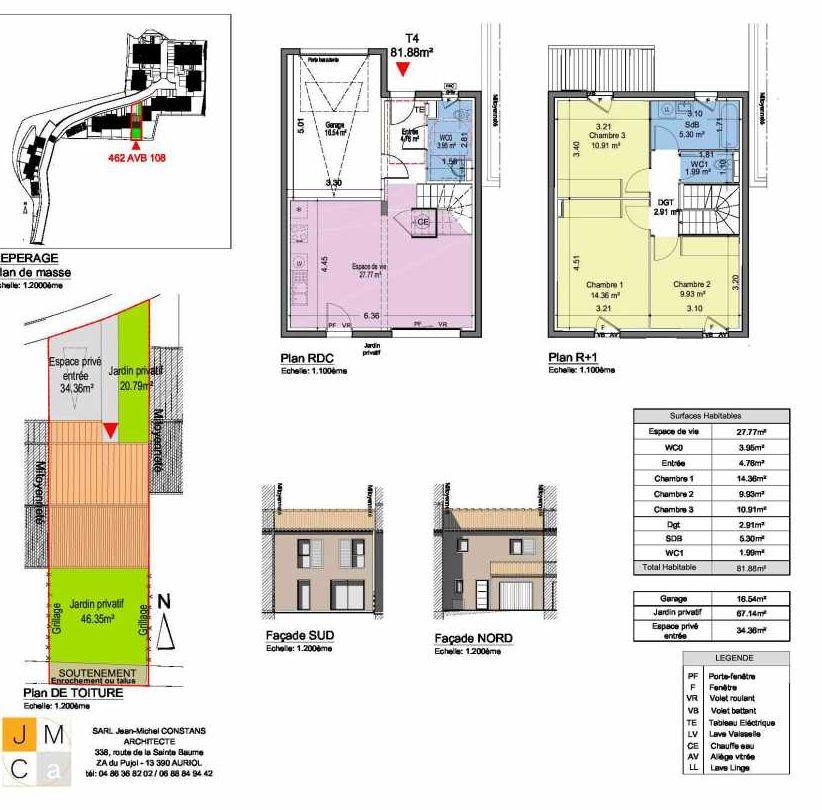 Plan 462AVB108, appartement neuf type T4 au Rez de chaussée, faisant 82m² du programme neuf Résidence principale Carcès à Carcès.
