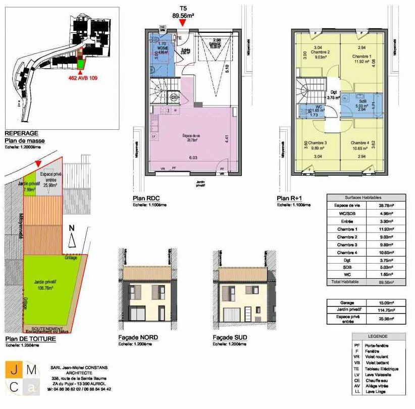 Plan 462AVB109, appartement neuf type T5 au Rez de chaussée, faisant 90m² du programme neuf Résidence principale Carcès à Carcès.