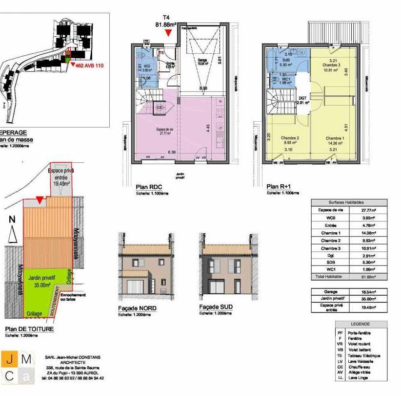 Plan 462AVB110, appartement neuf type T4 au Rez de chaussée, faisant 82m² du programme neuf Résidence principale Carcès à Carcès.