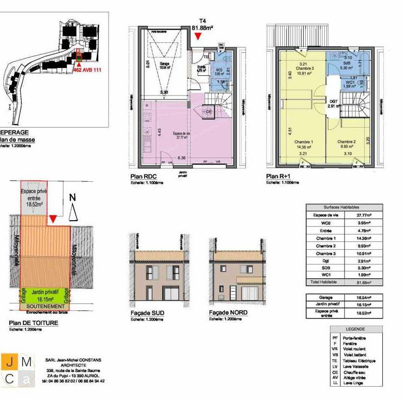 Plan 462AVB111, appartement neuf type T4 au Rez de chaussée, faisant 82m² du programme neuf Résidence principale Carcès à Carcès.