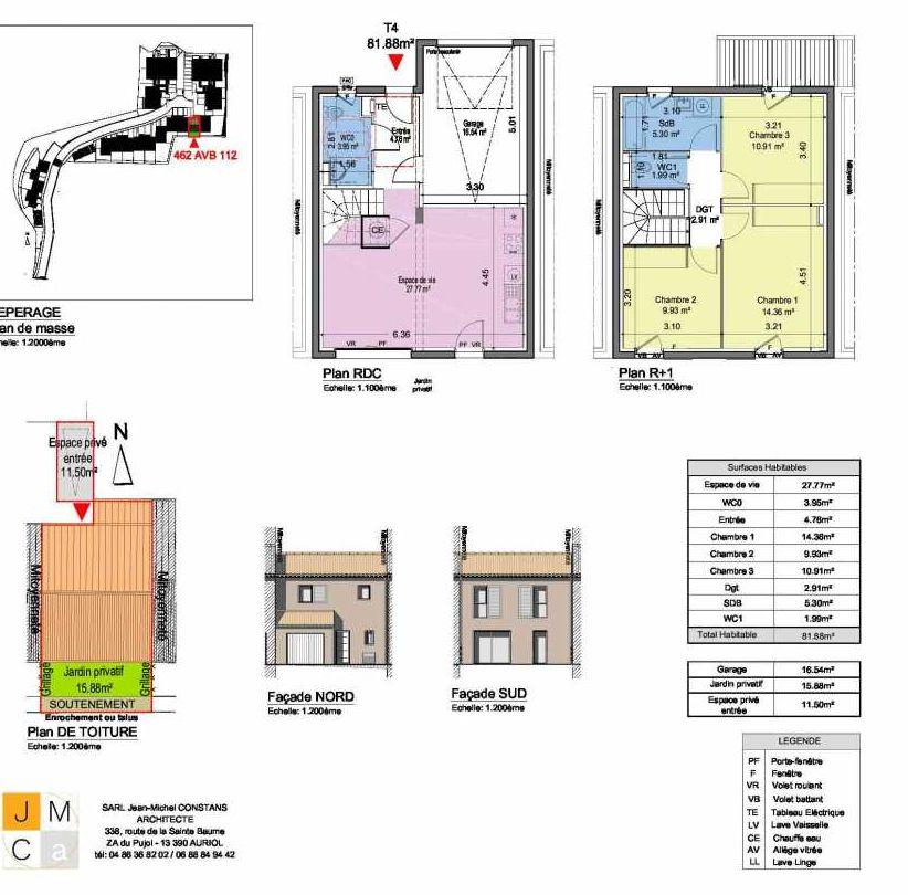 Plan 462AVB112, appartement neuf type T4 au Rez de chaussée, faisant 82m² du programme neuf Résidence principale Carcès à Carcès.
