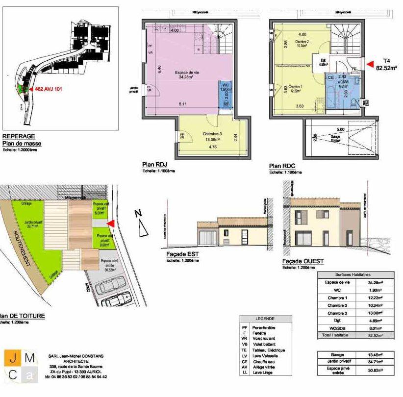 Plan 462AVJ101, appartement neuf type T4 au Rez de chaussée, faisant 83m² du programme neuf Résidence principale Carcès à Carcès.