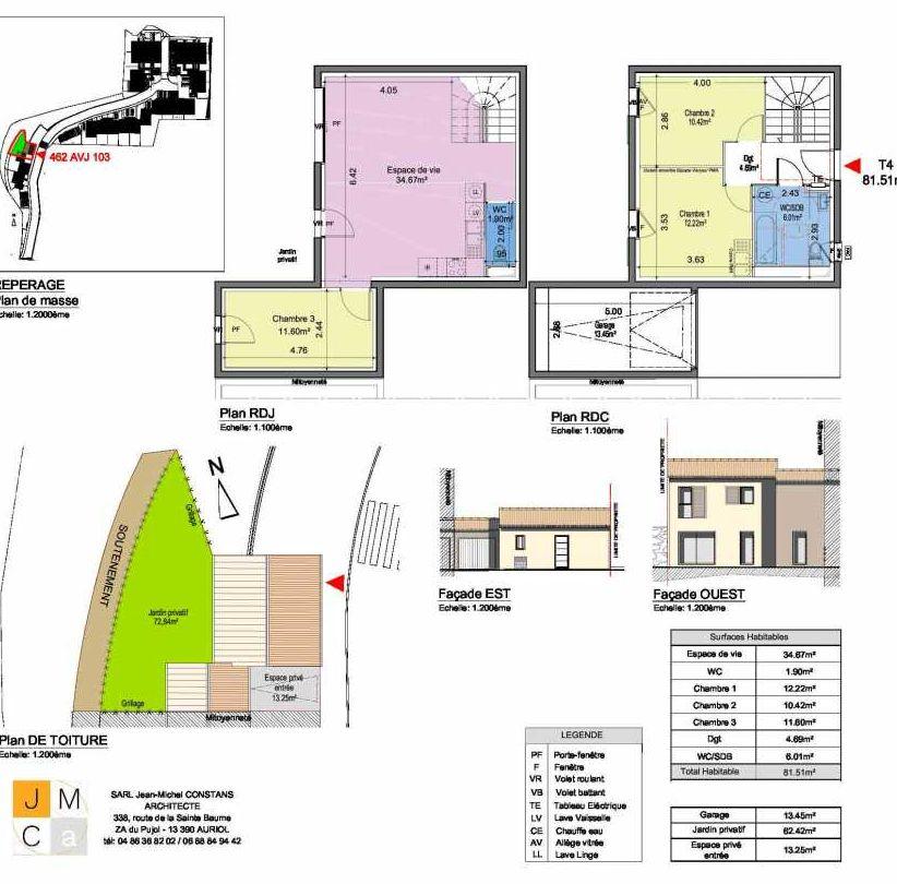 Plan 462AVJ103, appartement neuf type T4 au Rez de chaussée, faisant 82m² du programme neuf Résidence principale Carcès à Carcès.