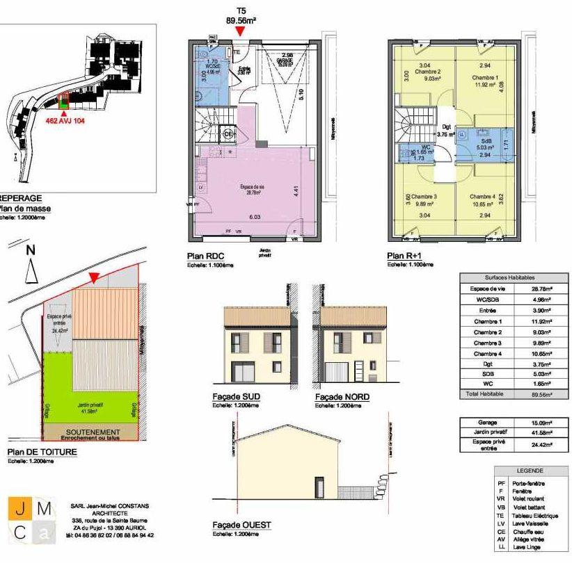 Plan 462AVJ104, appartement neuf type T5 au Rez de chaussée, faisant 90m² du programme neuf Résidence principale Carcès à Carcès.