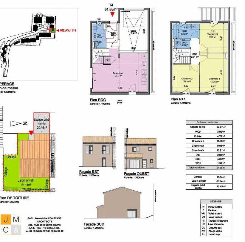 Plan 462AVJ114, appartement neuf type T4 au Rez de chaussée, faisant 82m² du programme neuf Résidence principale Carcès à Carcès.