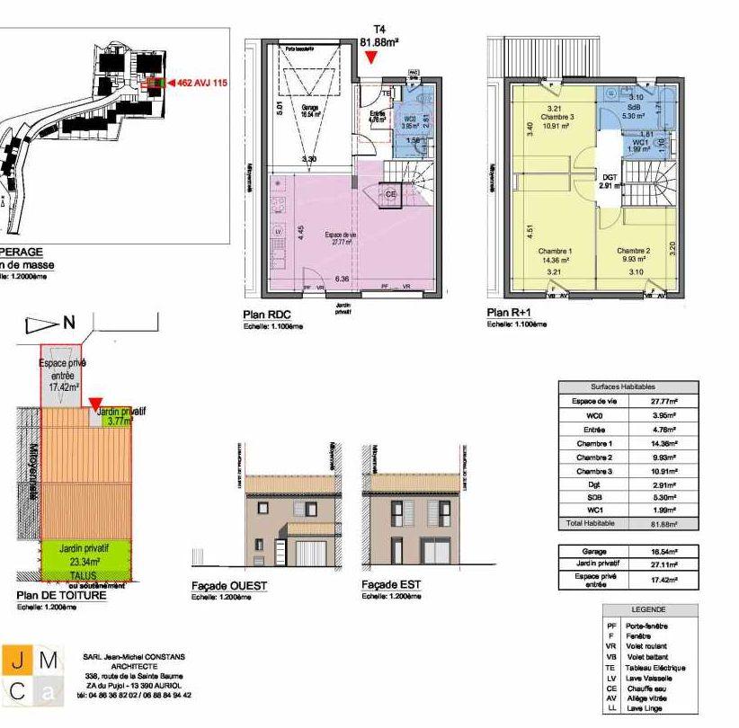 Plan 462AVJ115, appartement neuf type T4 au Rez de chaussée, faisant 82m² du programme neuf Résidence principale Carcès à Carcès.