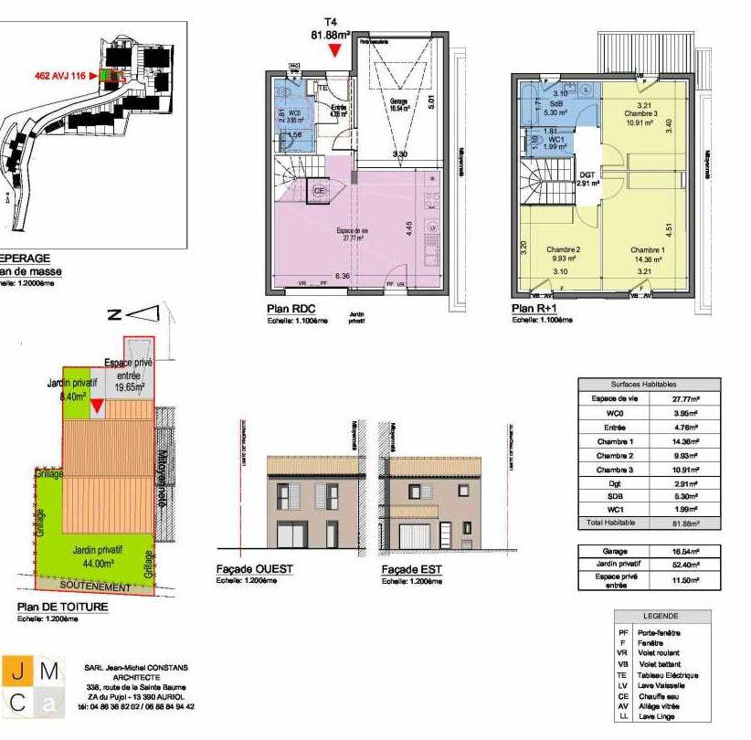 Plan 462AVJ116, appartement neuf type T4 au Rez de chaussée, faisant 82m² du programme neuf Résidence principale Carcès à Carcès.