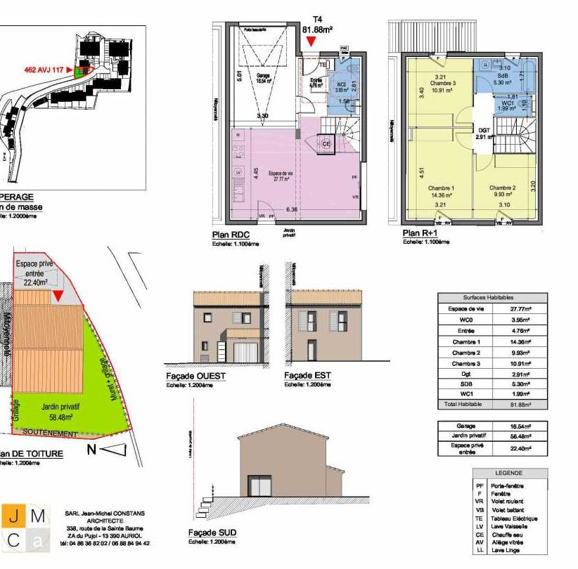 Plan 462AVJ117, appartement neuf type T4 au Rez de chaussée, faisant 82m² du programme neuf Résidence principale Carcès à Carcès.