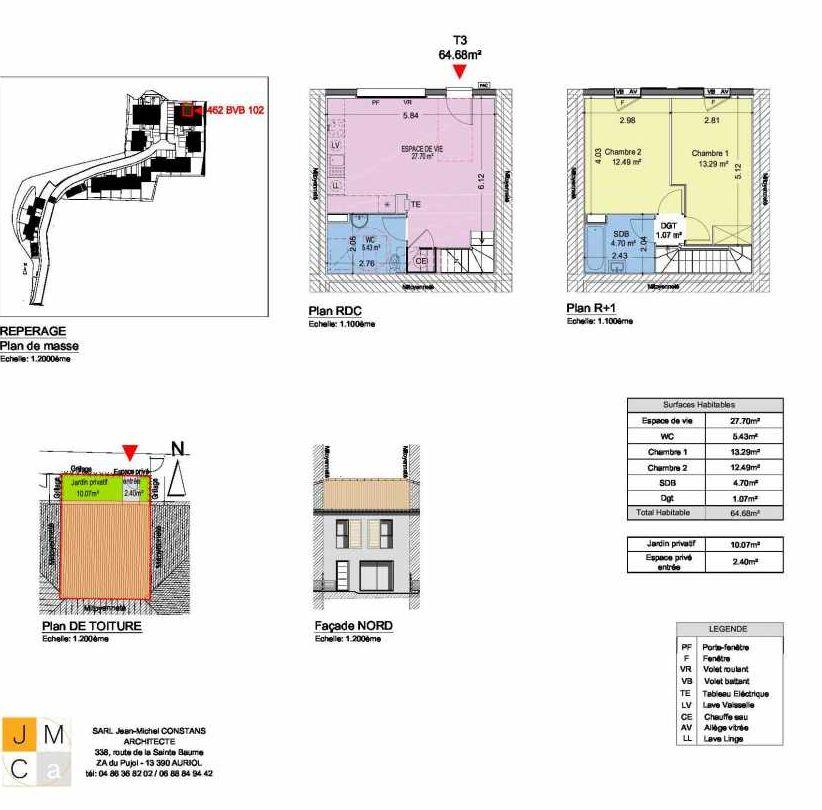 Plan 462BVB102, appartement neuf type T3 au Rez de chaussée, faisant 65m² du programme neuf Résidence principale Carcès à Carcès.