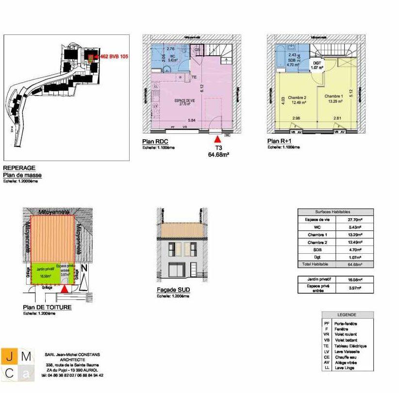 Plan 462BVB105, appartement neuf type T3 au Rez de chaussée, faisant 65m² du programme neuf Résidence principale Carcès à Carcès.