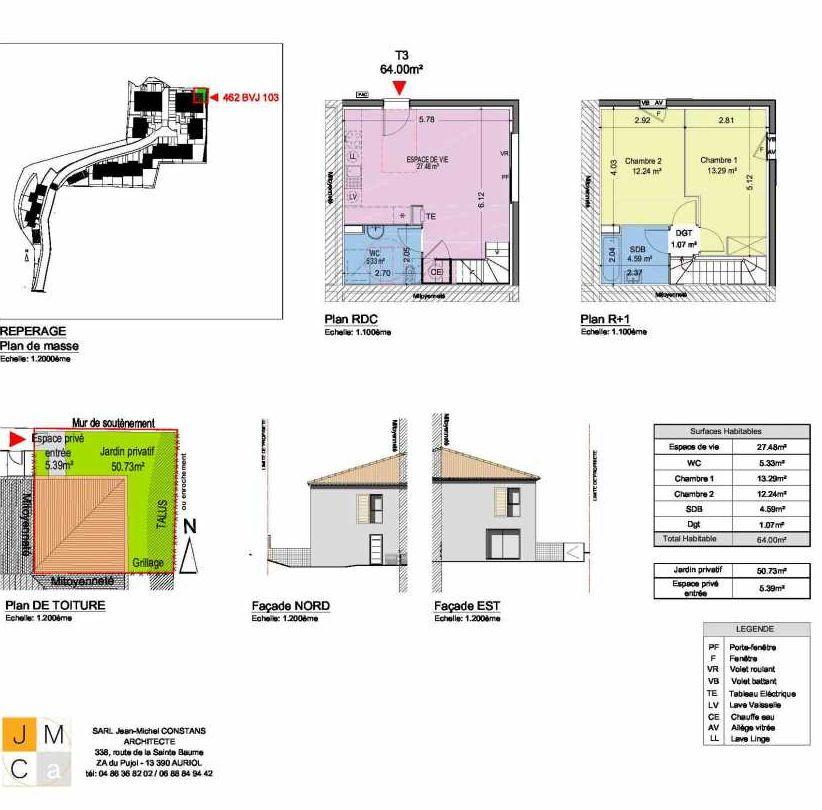 Plan 462BVJ103, appartement neuf type T3 au Rez de chaussée, faisant 64m² du programme neuf Résidence principale Carcès à Carcès.