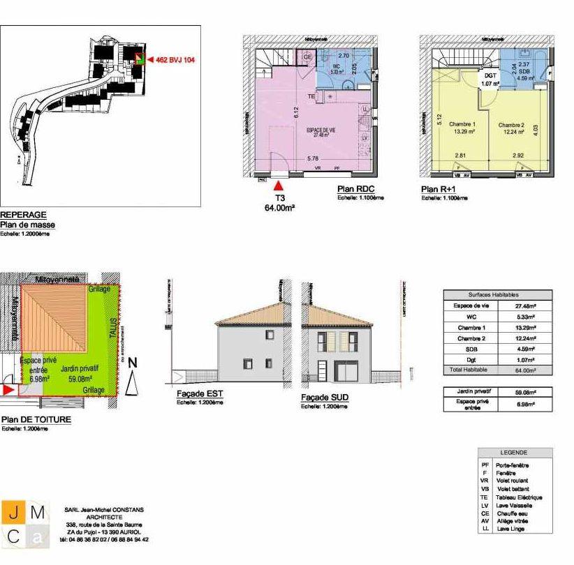 Plan 462BVJ104, appartement neuf type T3 au Rez de chaussée, faisant 64m² du programme neuf Résidence principale Carcès à Carcès.