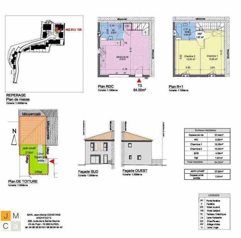 Plan 462BVJ106, appartement neuf type T3 au Rez de chaussée, faisant 64m² du programme neuf Résidence principale Carcès à Carcès.