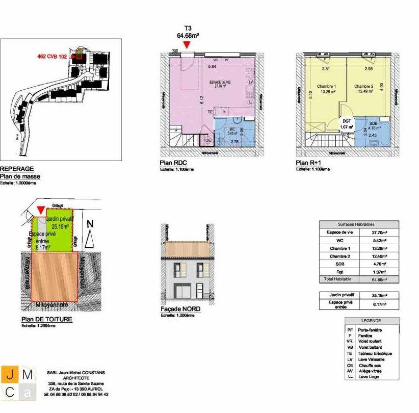 Plan 462CVB102, appartement neuf type T3 au Rez de chaussée, faisant 65m² du programme neuf Résidence principale Carcès à Carcès.