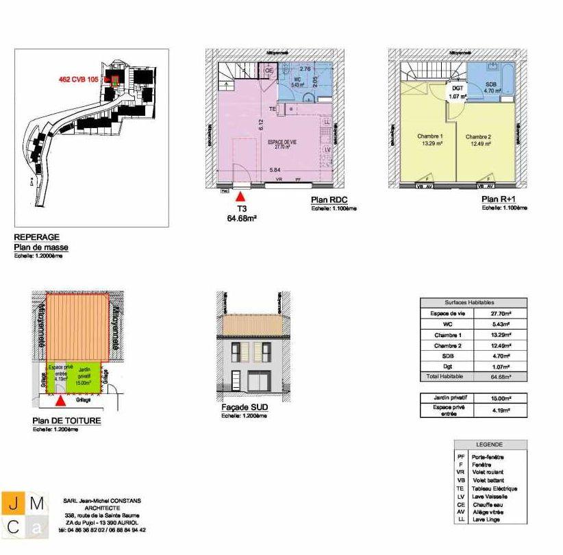 Plan 462CVB105, appartement neuf type T3 au Rez de chaussée, faisant 65m² du programme neuf Résidence principale Carcès à Carcès.
