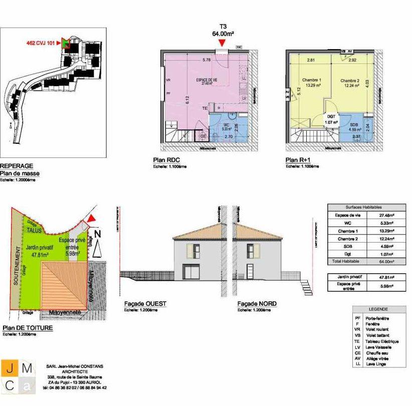 Plan 462CVJ101, appartement neuf type T3 au Rez de chaussée, faisant 64m² du programme neuf Résidence principale Carcès à Carcès.