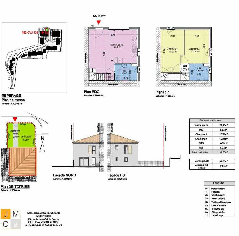Plan 462CVJ103, appartement neuf type T3 au Rez de chaussée, faisant 64m² du programme neuf Résidence principale Carcès à Carcès.