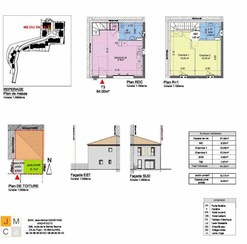 Plan 462CVJ104, appartement neuf type T3 au Rez de chaussée, faisant 64m² du programme neuf Résidence principale Carcès à Carcès.