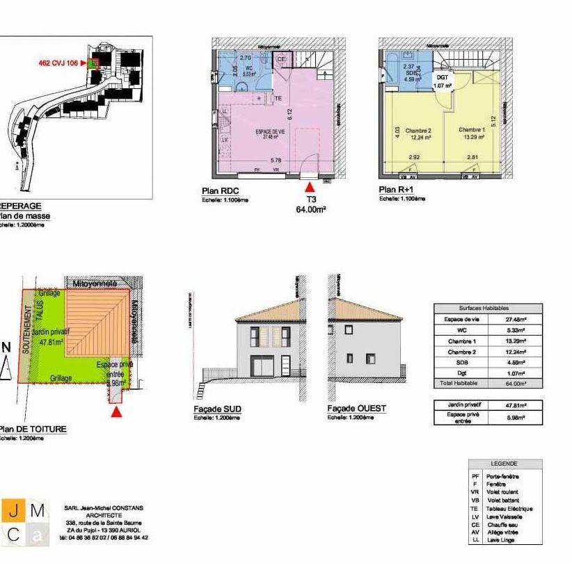 Plan 462CVJ106, appartement neuf type T3 au Rez de chaussée, faisant 64m² du programme neuf Résidence principale Carcès à Carcès.