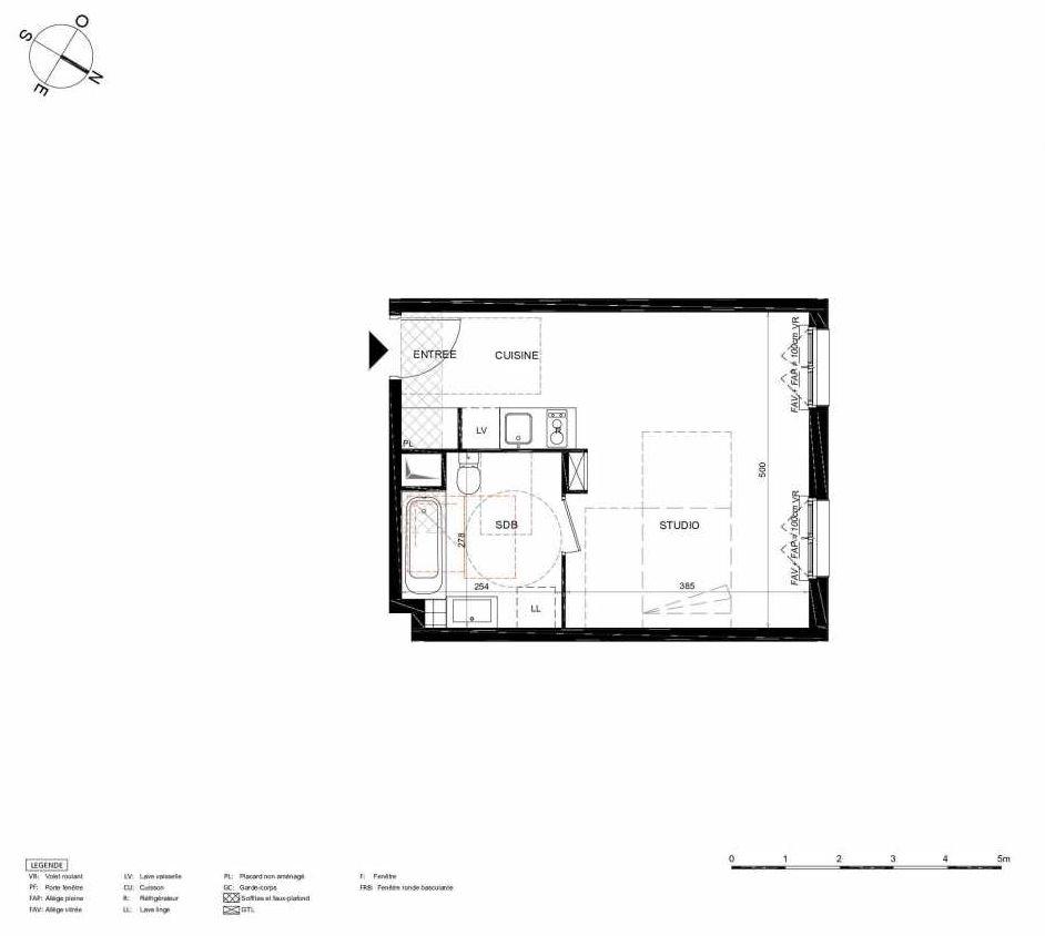 Plan 463, appartement neuf type T1 au 6ème étage, orienté Nord faisant 31m² du programme neuf LES JARDINS BALZAC BAT 2 à Argenteuil.