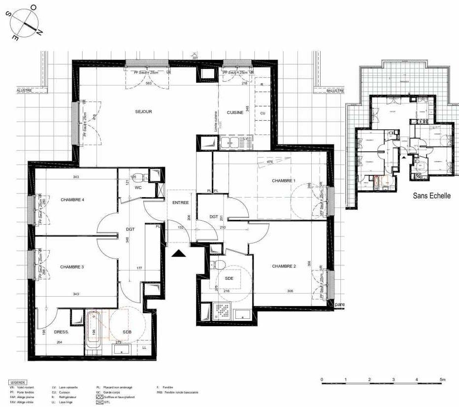 Plan 471, appartement neuf type T5 au 7ème étage, orienté Sud faisant 106m² du programme neuf LES JARDINS BALZAC BAT 2 à Argenteuil.