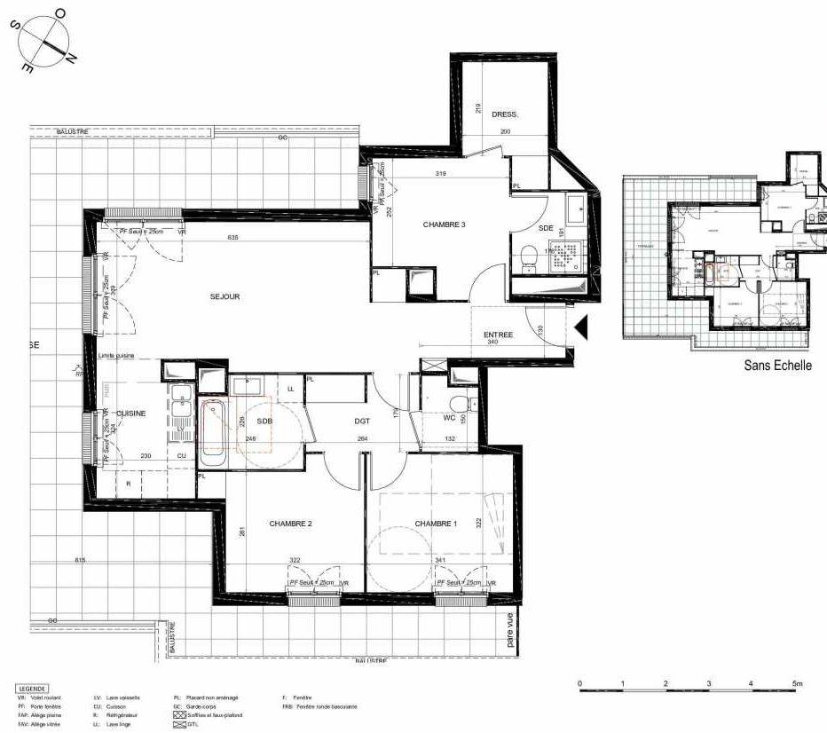 Plan 473, appartement neuf type T4 au 7ème étage, orienté Sud faisant 86m² du programme neuf LES JARDINS BALZAC BAT 2 à Argenteuil.