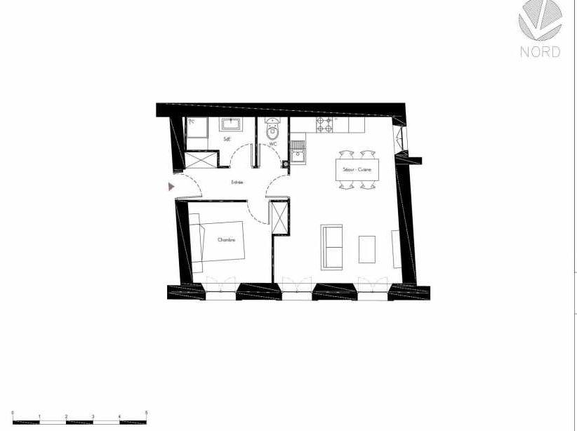 Plan 5, appartement neuf, faisant 49m² du programme neuf 1 Rue Grignan à Marseille.