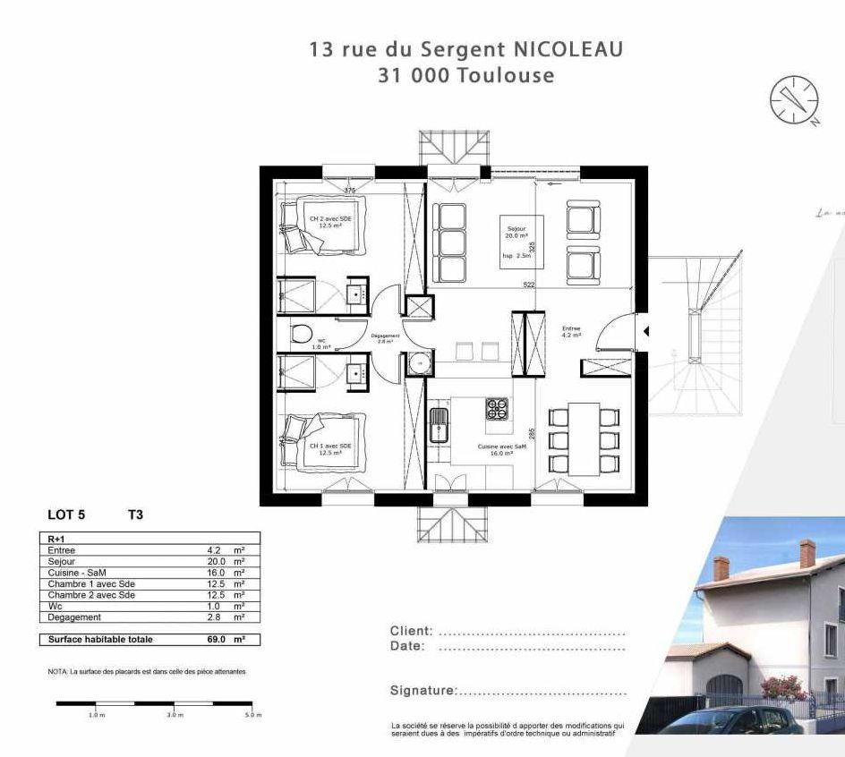 Plan 5, appartement neuf type T3 au 1er étage, faisant 69m² du programme neuf 13 Rue du Sergent Nicoleau à Toulouse.