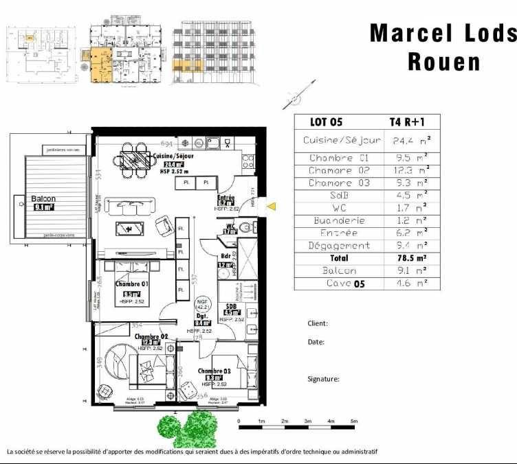 Plan 5, appartement neuf type T4 au 1er étage, faisant 79m² du programme neuf 15 rue Jean-Philippe Rameau à Rouen.