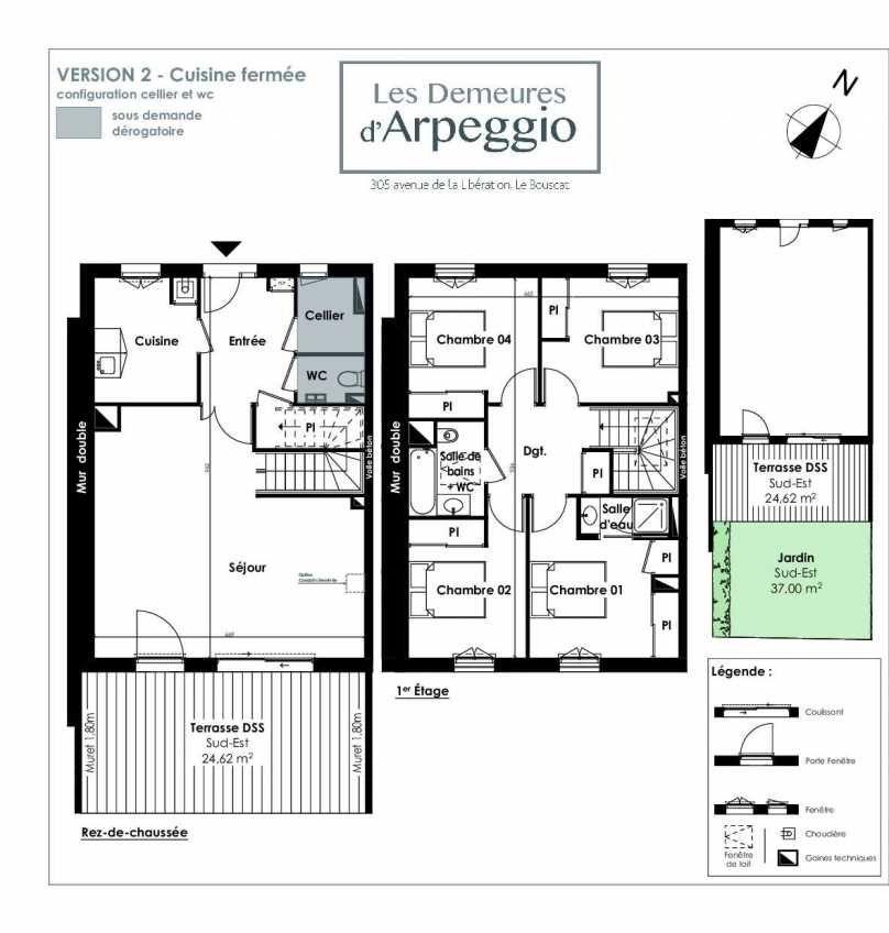Plan 5, appartement neuf type T5 au Rez de chaussée, orienté Sud faisant 113m² du programme neuf LES DEMEURES D'ARPEGGIO à Le Bouscat.
