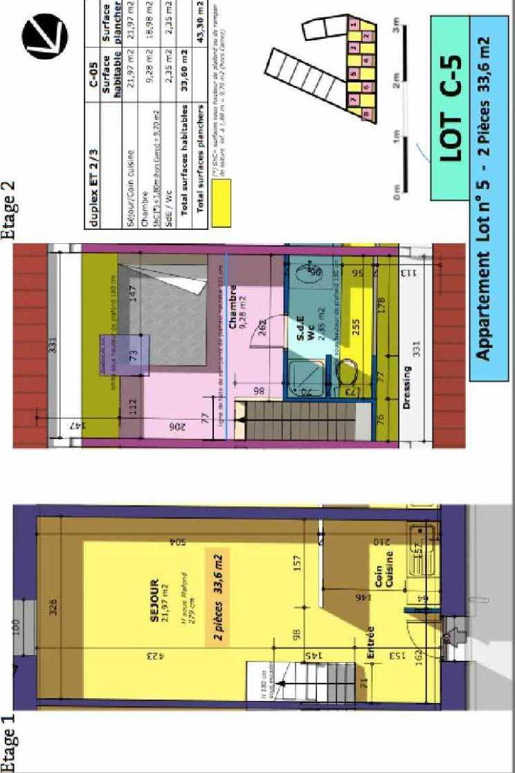 Plan 5, appartement neuf type T2 au 1er étage, faisant 34m² du programme neuf Rue de Gournay - Bat C à Chelles.