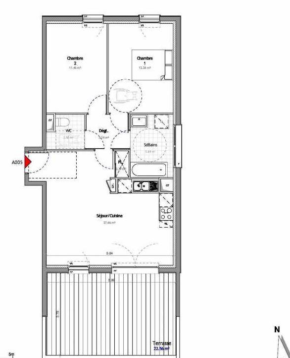 Plan 5, appartement neuf type T3 au Rez de chaussée, orienté Est faisant 63m² du programme neuf SOUTH PARK BAT A NUE PROPRIETE à Amiens.